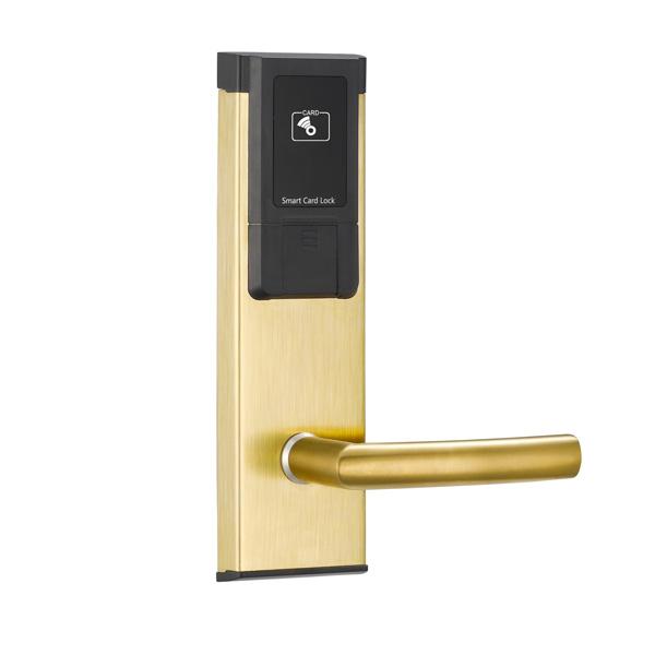 Бесконтактный замок HT-18E-S9/S10 для гостиниц на RFID картах (золото)