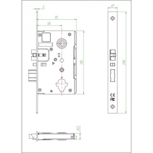 Бесконтактный замок IS-8002-G для гостиниц на RF картах