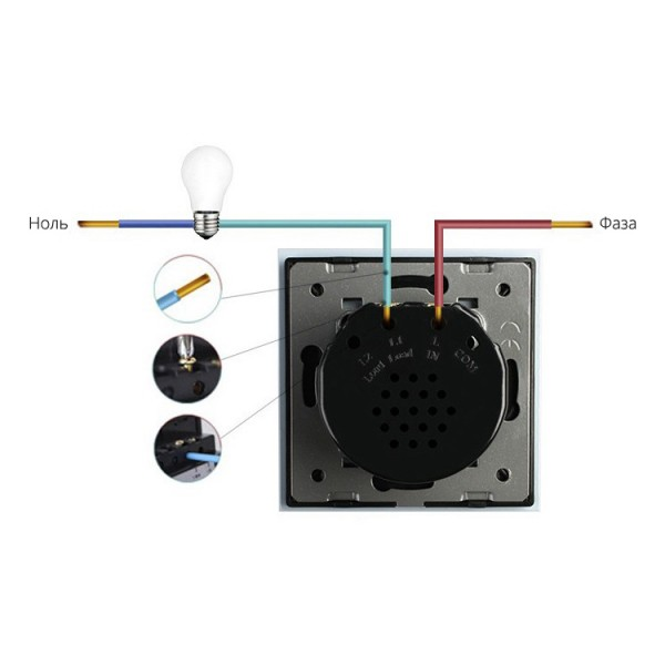 Сенсорный выключатель однолинейный серии Classic EC-1R-G с радиомодулем (серый)