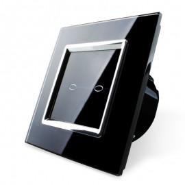 Проходной сенсорный выключатель серии Quadro без радиомодуля двухлинейный EQ-2S-B (черный)